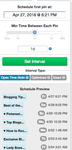 Tailwind Interval Pin Schedule