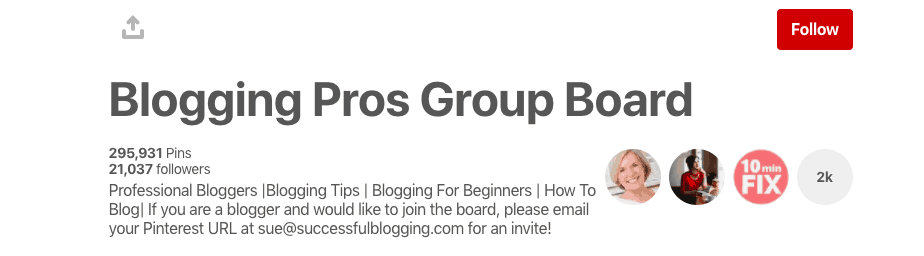 Blogging Pros Group Board