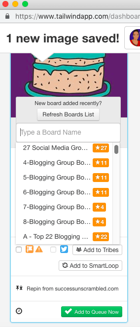 Choose from your lists of board list