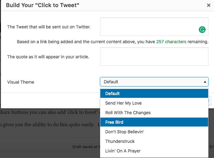 click to tweet pop up with visual theme optons