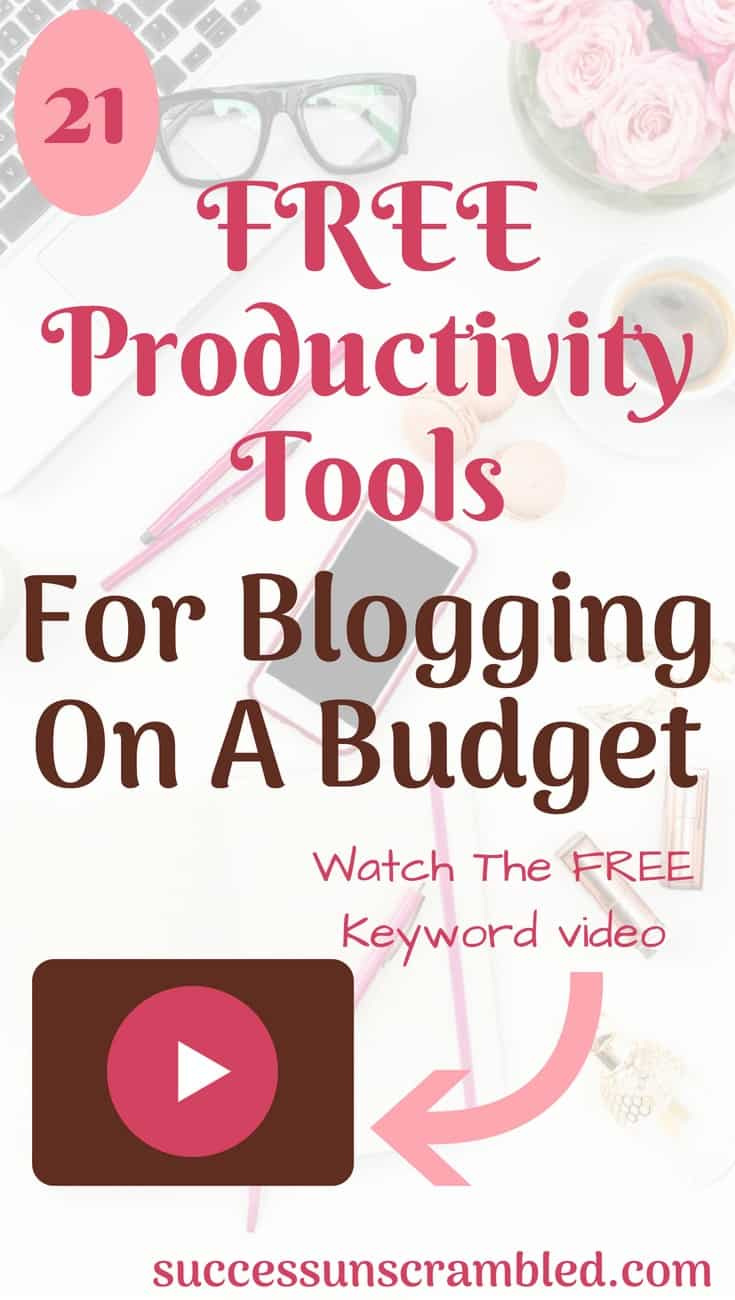 Are you concerned about time management? Check out these 21 productivity tools for the ambitious blogger. From keyword research, starting a blog, publishing a blog, blog traffic, project management, creating images, content upgrades, printables, video, pdf and content creation. Check out the free video.