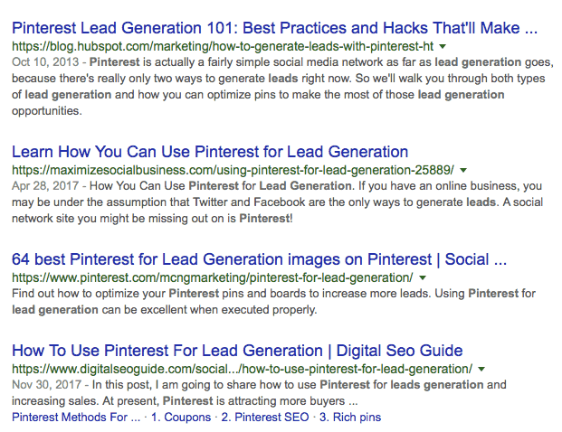 Pinterest lead generation results