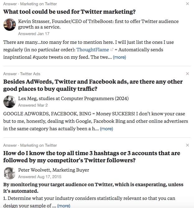 Quora - Twitter Mktg search