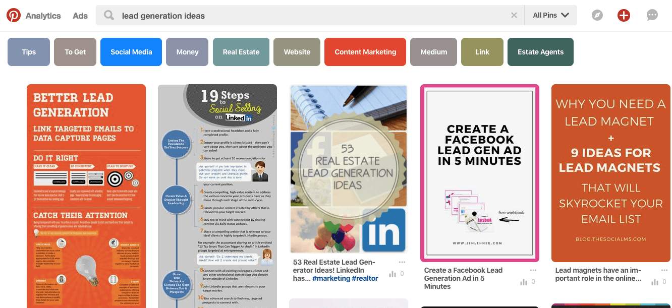 lead generation ideas - top 5 results Pinterest
