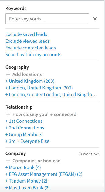 LinkedIn Sales Navigator Advanced filters