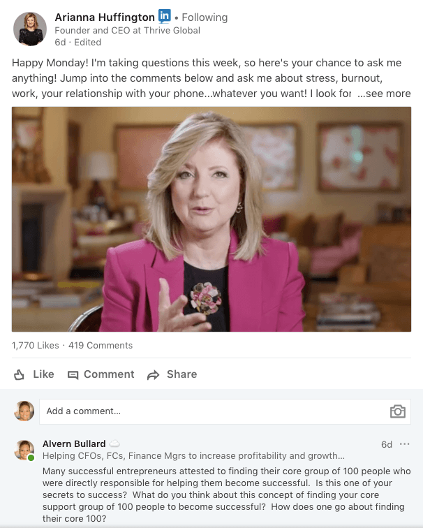 Comment on Arianna Huffington LinkedIn post