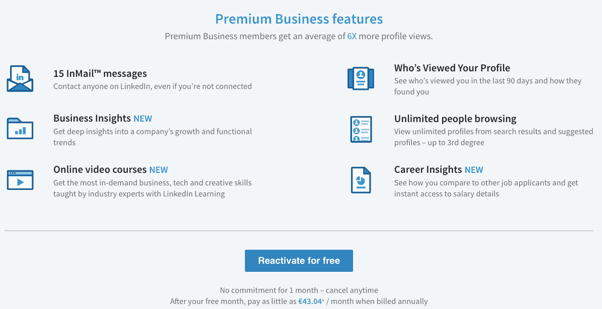 LinkedIn Premium Business Features