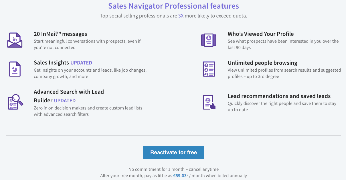 LinkedIn Sales Navigator Features