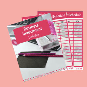 Business Investment Schedule template - sale item - pink bg