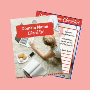 Domain Name Checklist Template - sale item - pink bg