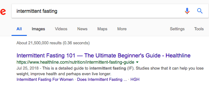 Google search for intermittent fasting