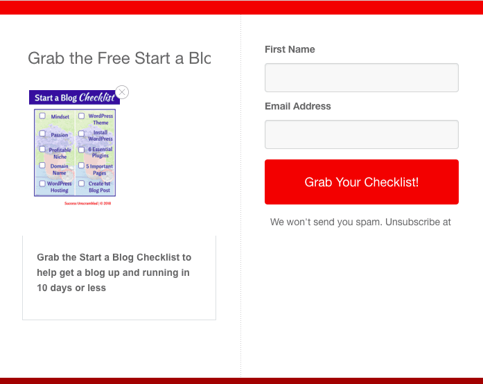 Start a blog checklist lead capture form