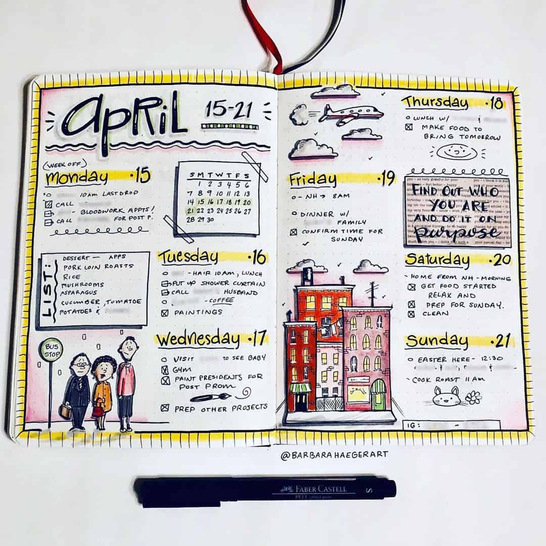 Barbara Haeger - Instagram - April Bullet Journal Weekly Spread