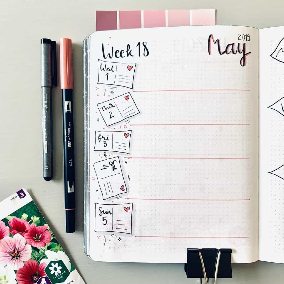 Bujo By Sarah - Instagram - May Weekly Spread