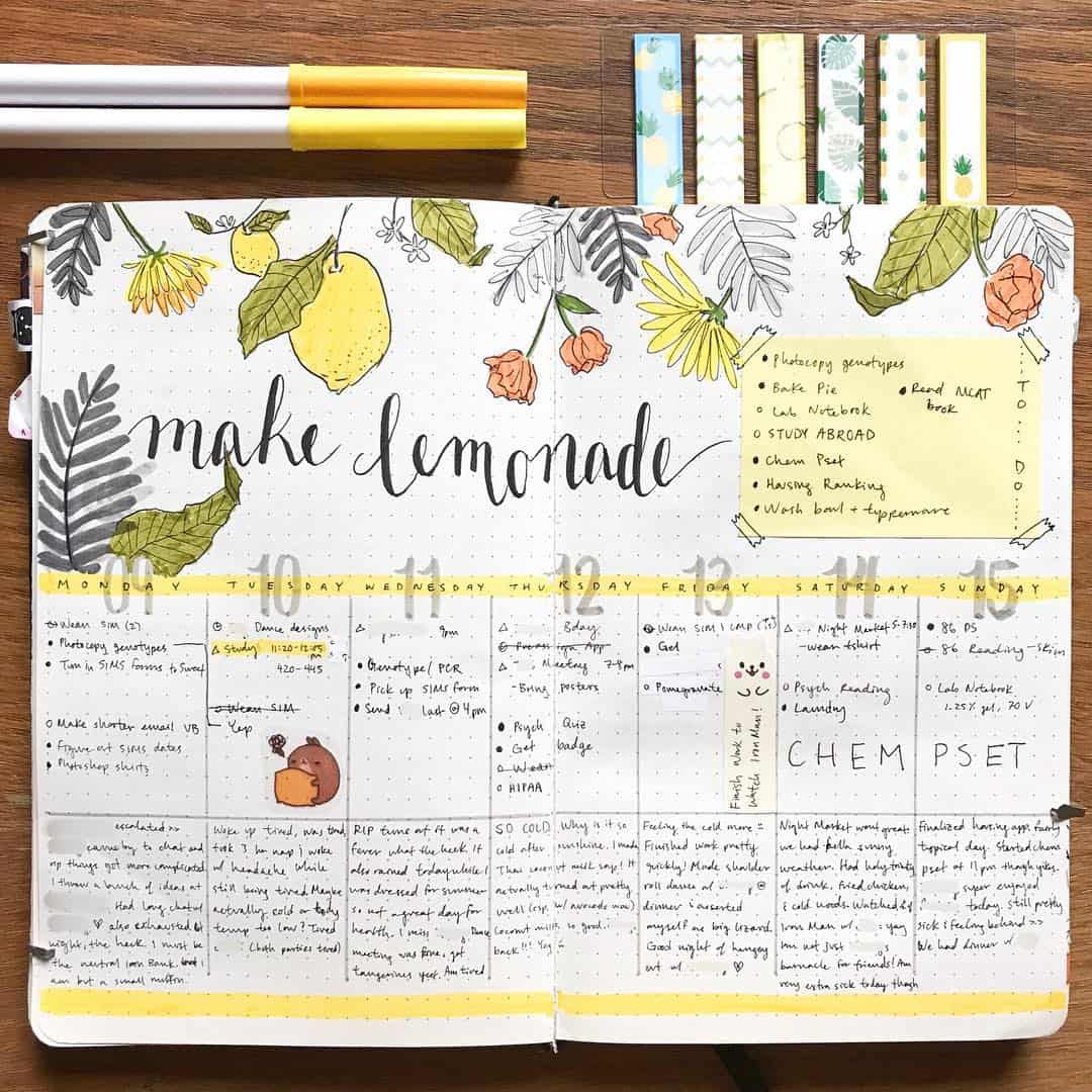 bujowithtea - Instagram - Vertical Weekly Spread Idea