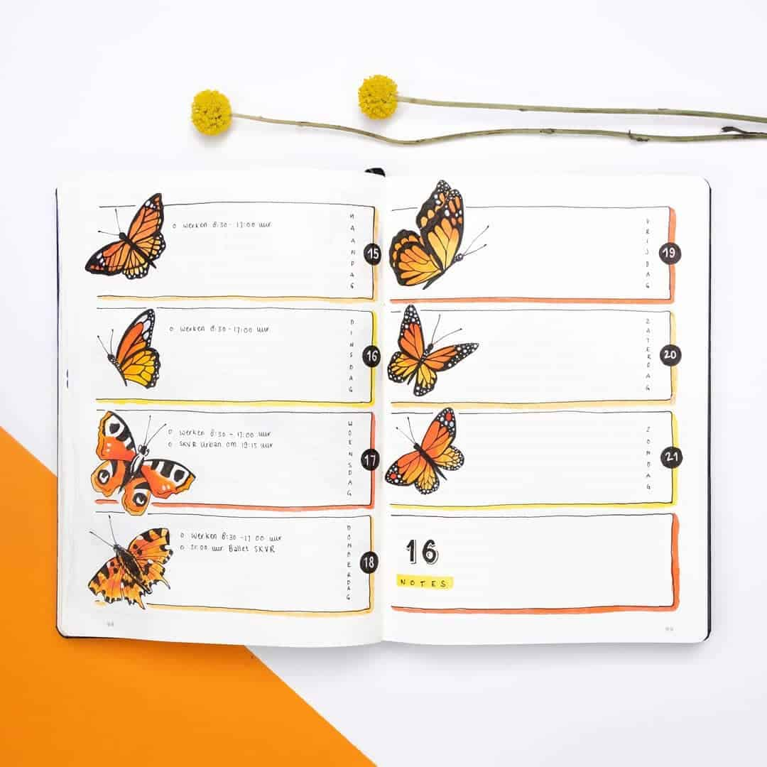 orange weekly spread - Manon - dutch-dots - Instagram