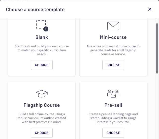 Thinkific course options - 1