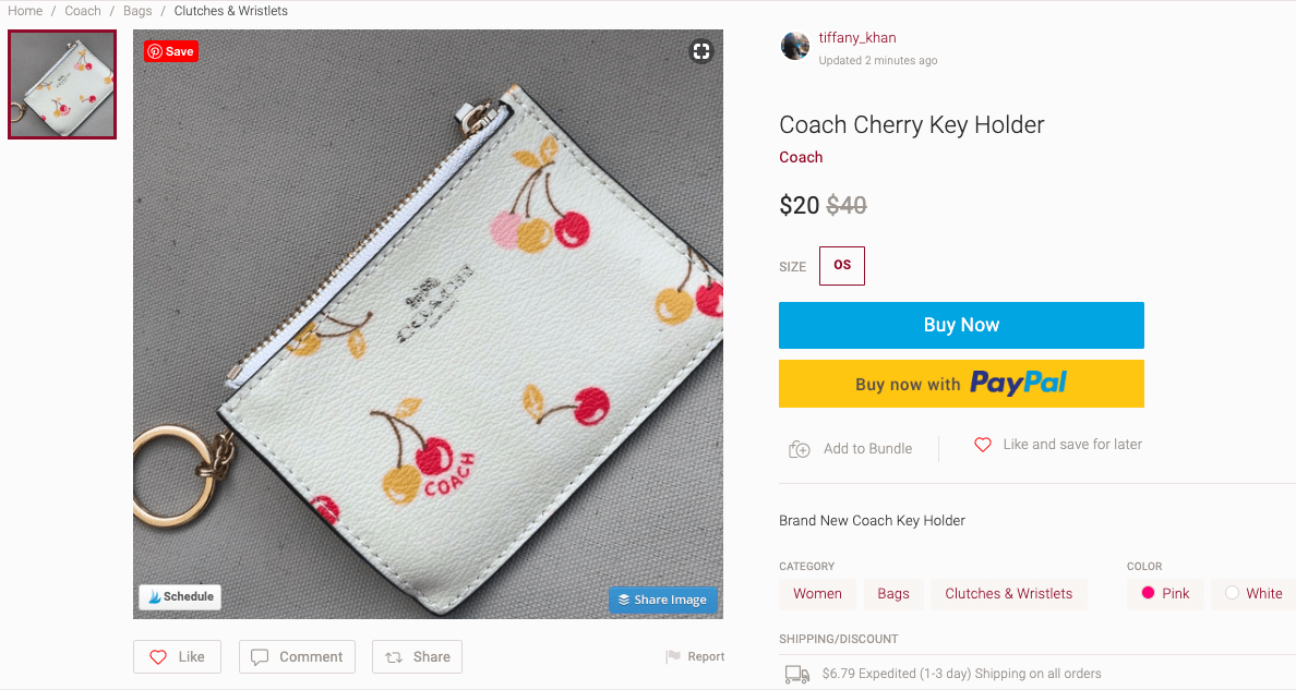Coach Cherry Key Holder - Poshmark