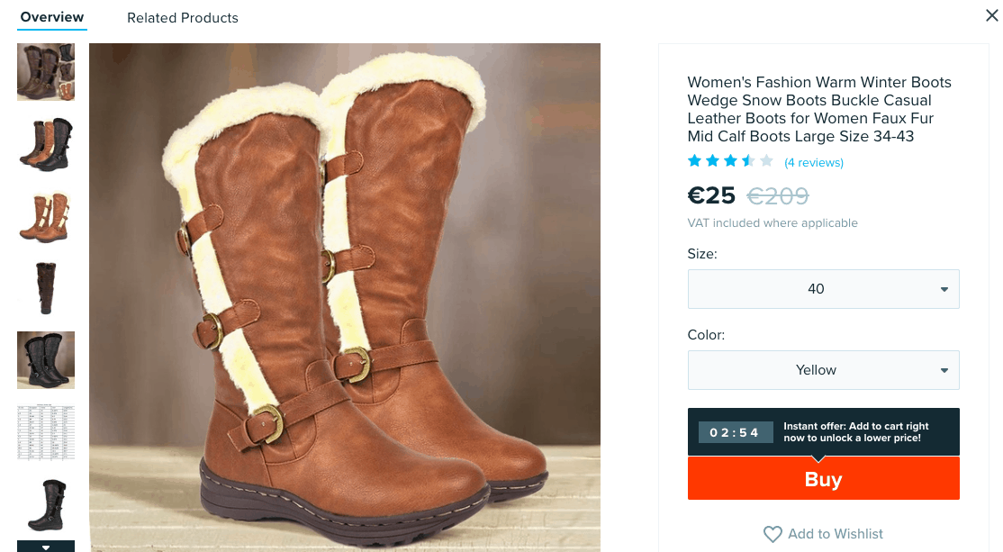 Women's Fashion Warm Winter Boots - Wish