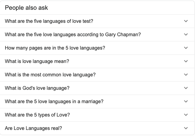 5 love languages - Google Snippet