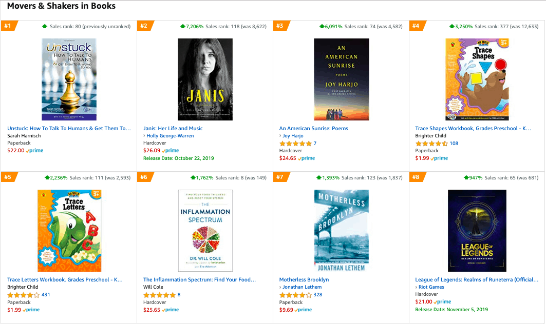 Amazon - movers and shakers - books