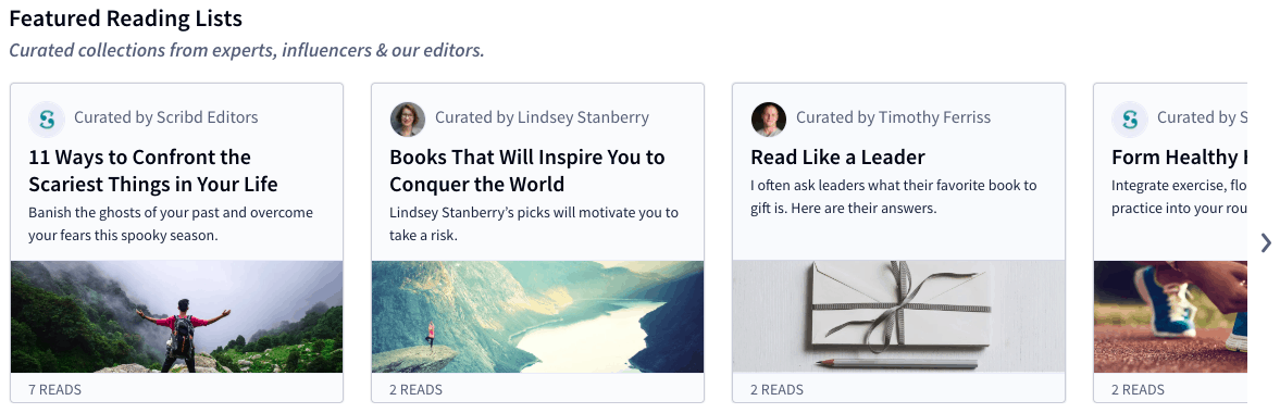 Curated lists in self-improvement - Scribd