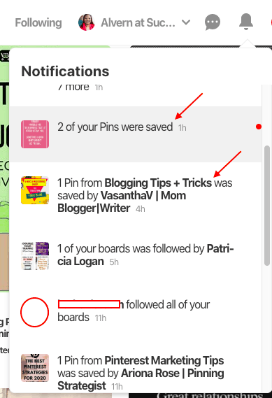 Pinterest notification - updated