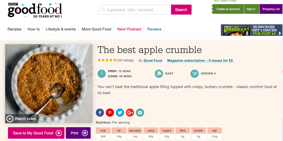 best apple crumble recipe - 1st result