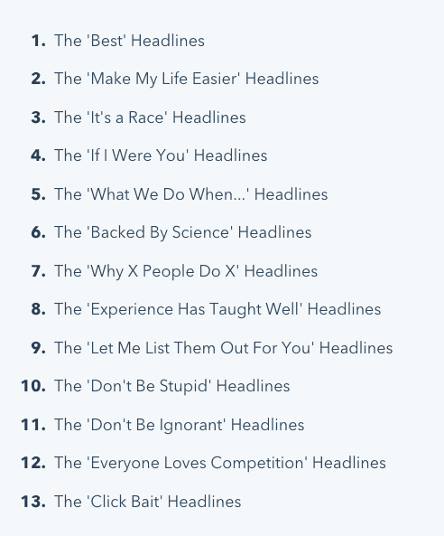 13 blog headline types