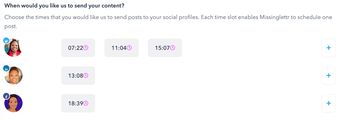 Setting up times by social profile
