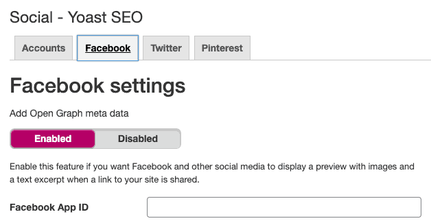 Facebook open graph enabled