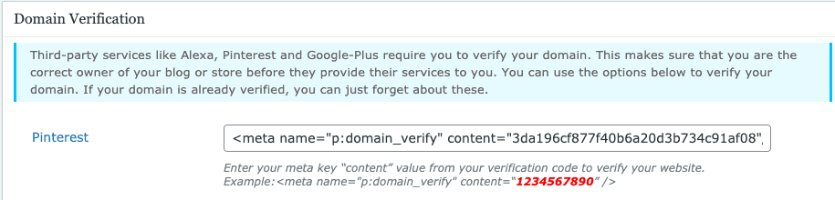 Pinterest domain verification box - All meta tags
