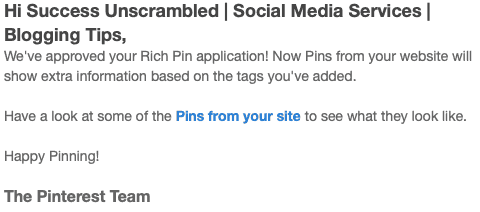 Rich pin approval email
