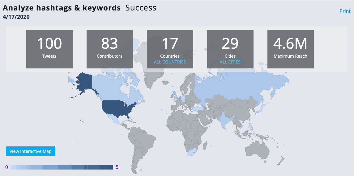 Tweepsmap - success by country