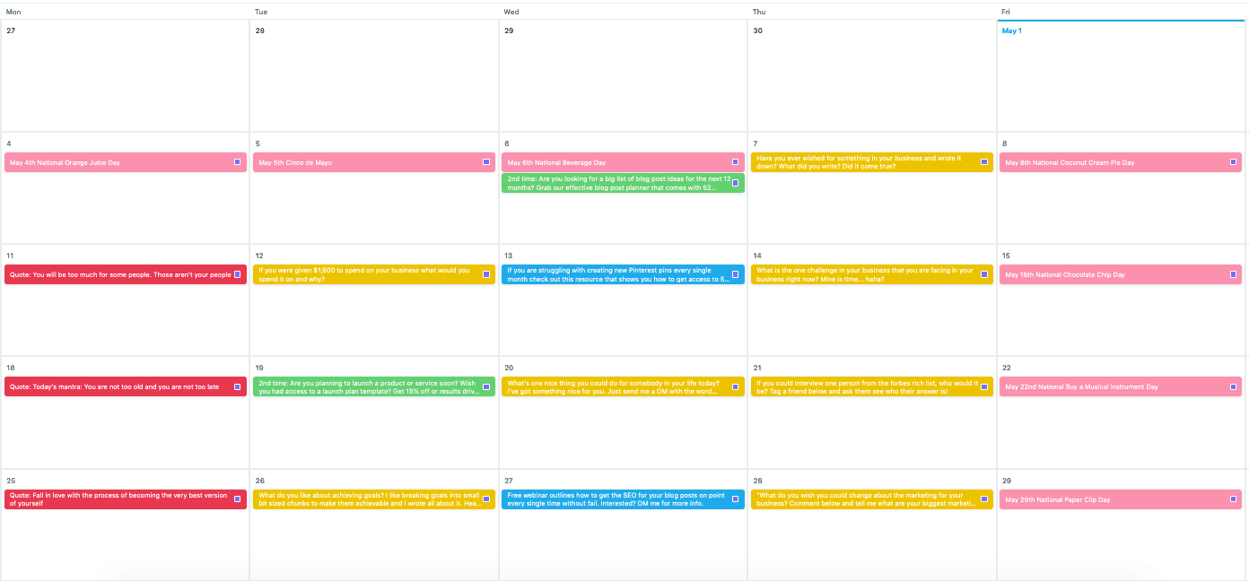 Month of May Completed