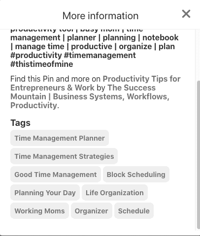 Pinterest tags on block scheduling pin - 2