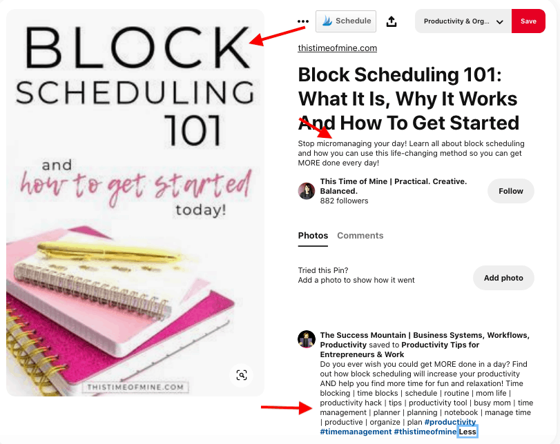 block scheduling example - Pinterest search