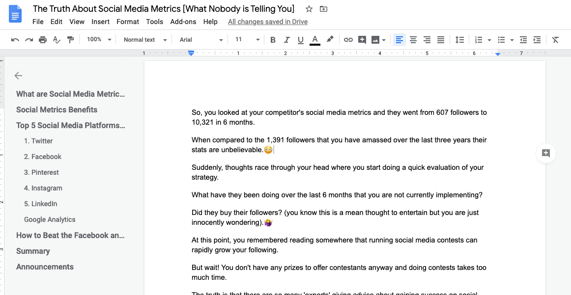 blog post inside of Google docs