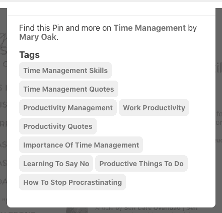 tags for time management pin in 1st place