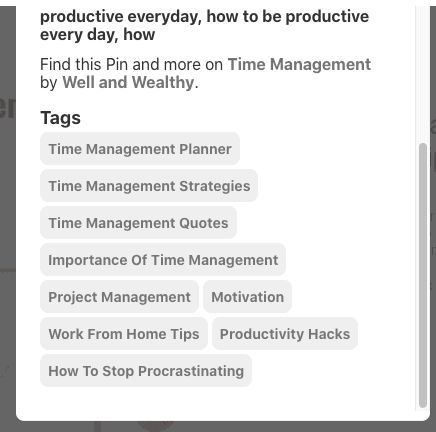tags for time management pin in 3rd place
