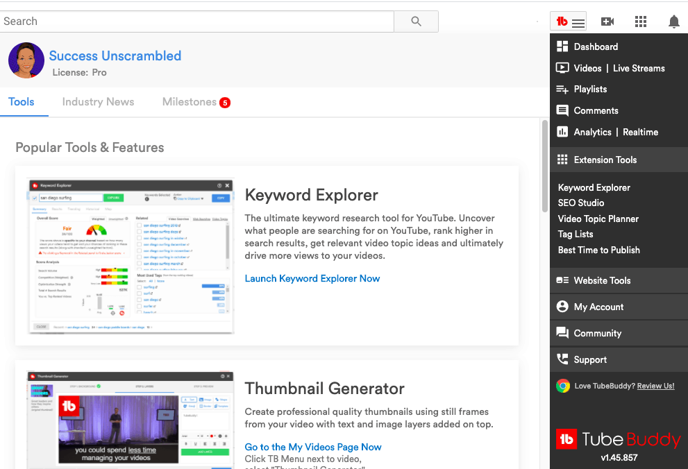 Tubebuddy features