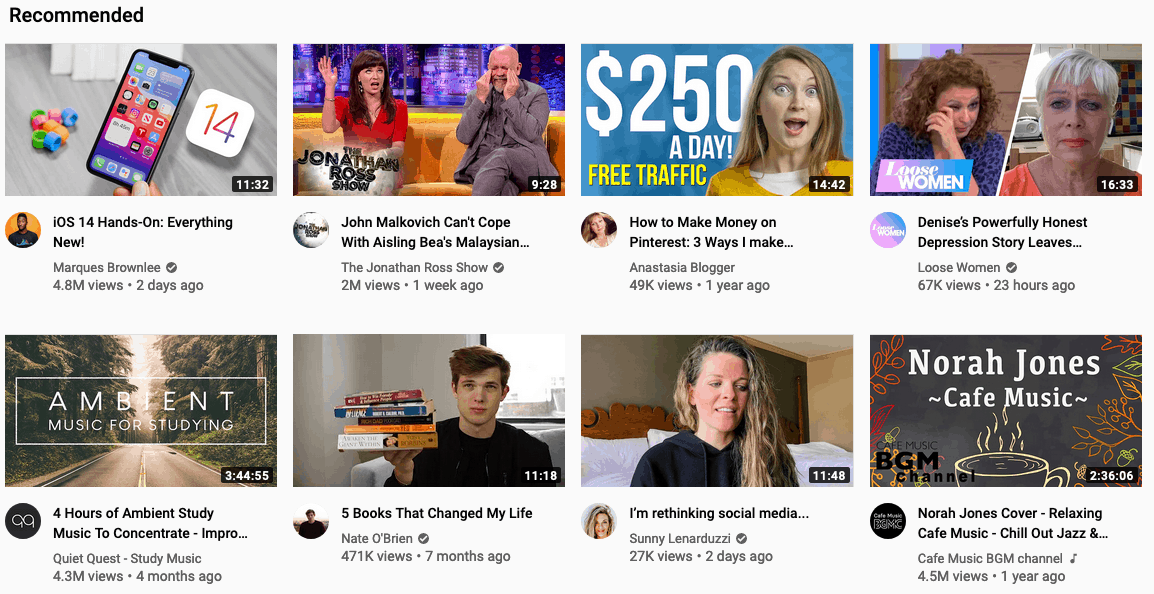 YouTube recommended videos