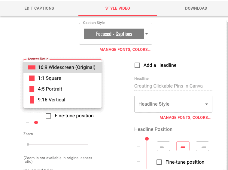 Zubtitle - video size options