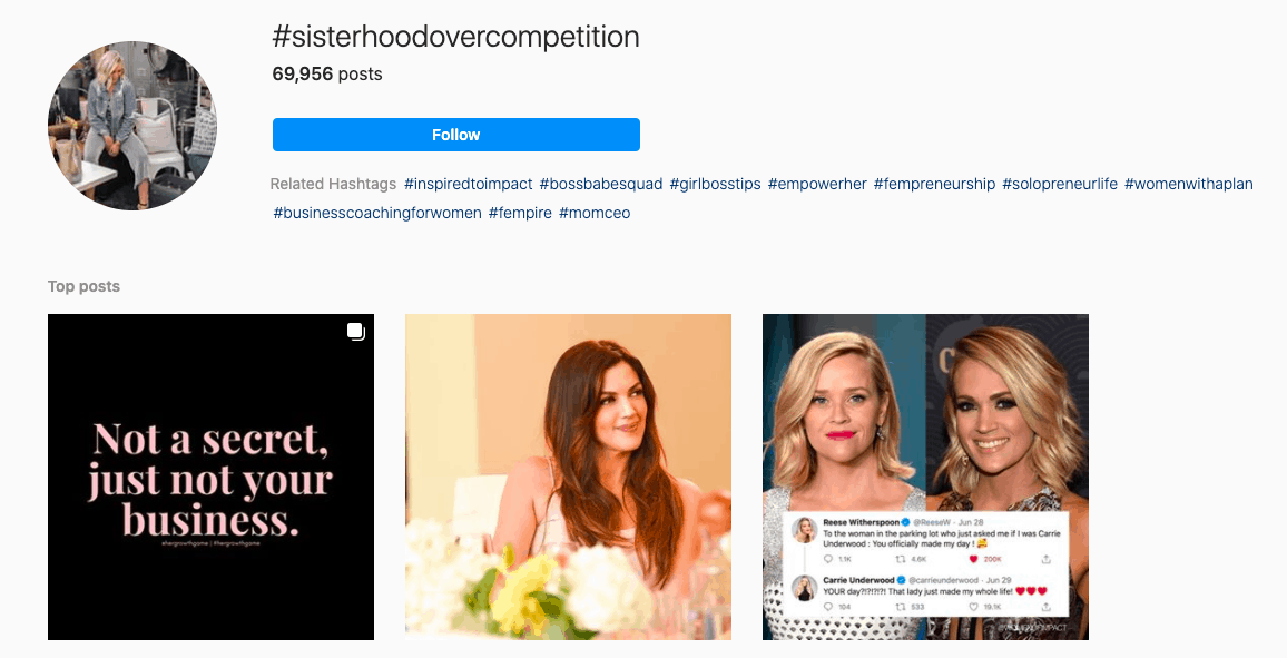 Sisterhood over competition hashtag