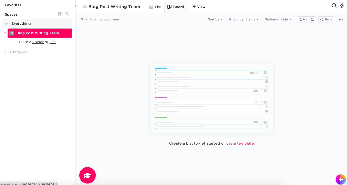 Blank project in ClickUp