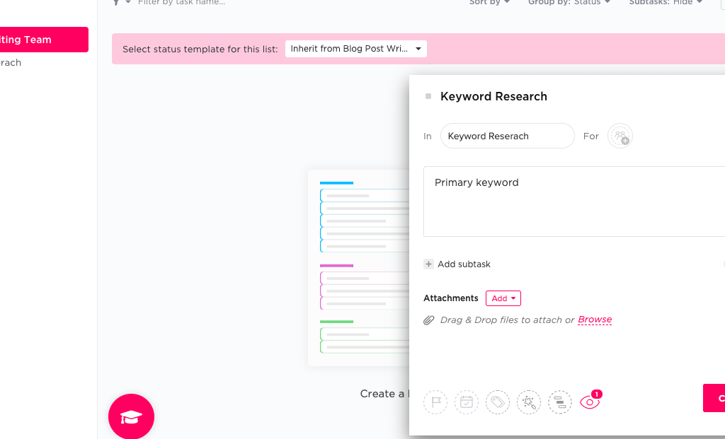 ClickUp when plus sign clicked