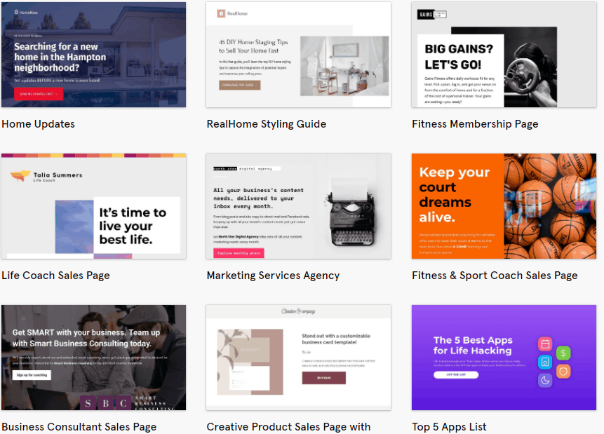 Leadpages landing page gallery