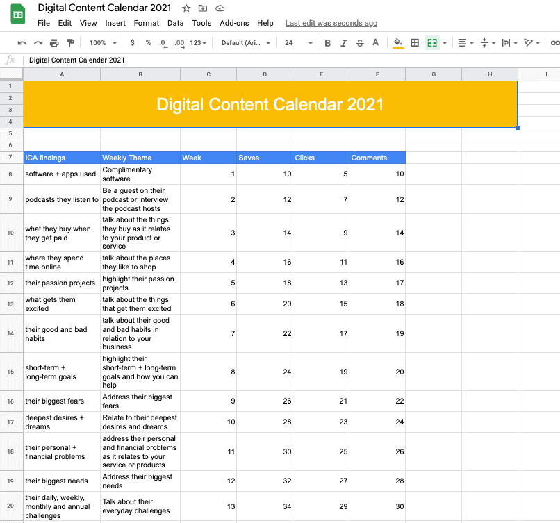 Digital Content Calendar Cover Sheet