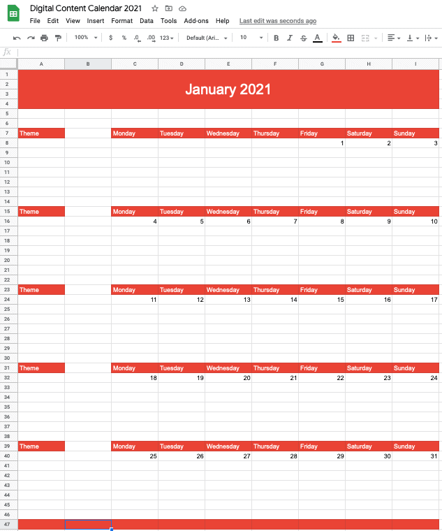 January 2021 calendar - updated