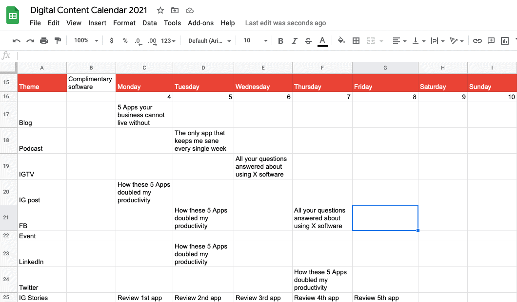 Mapping themes to the week